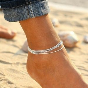 ~• Sexy Silver Multi-Layer Anklet
